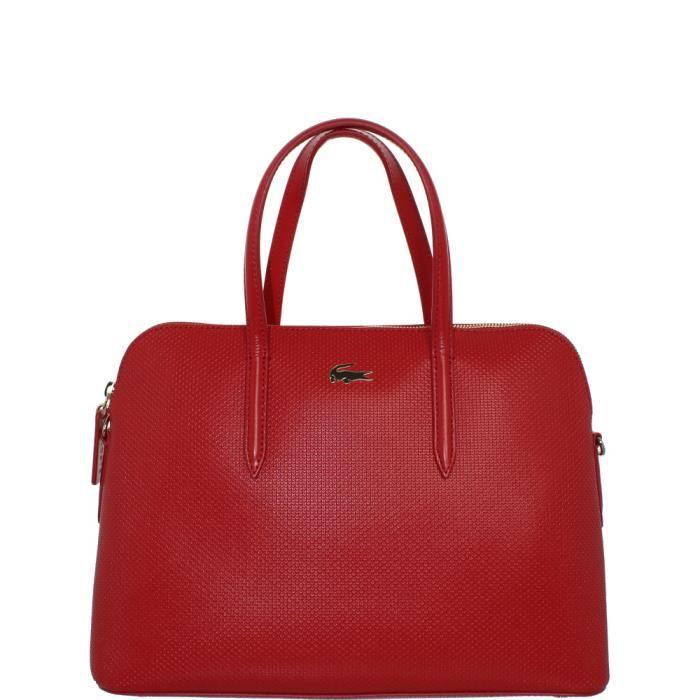 Sac à main Lacoste en cuir ref_cem37431-176-pompeian red Rouge