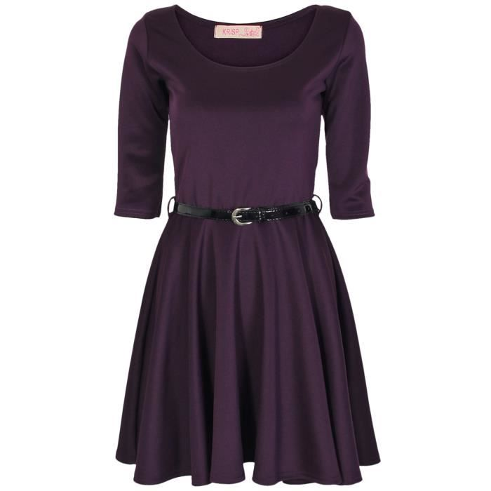 Robe Patineuse Ceinture Manches 3/4