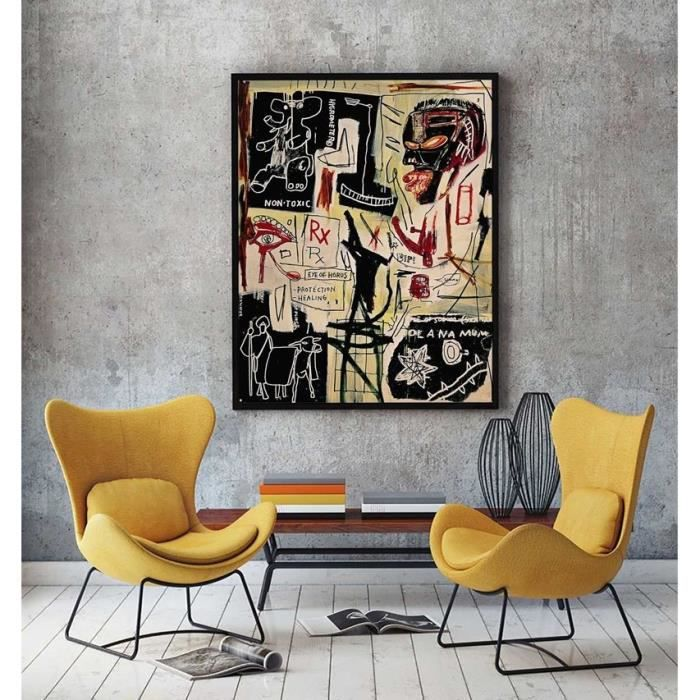 Home d cor peinture l 39 huile jean michel basquiat people graffiti hd imprimer tableau peinture - Decor discount st jean de vedas ...