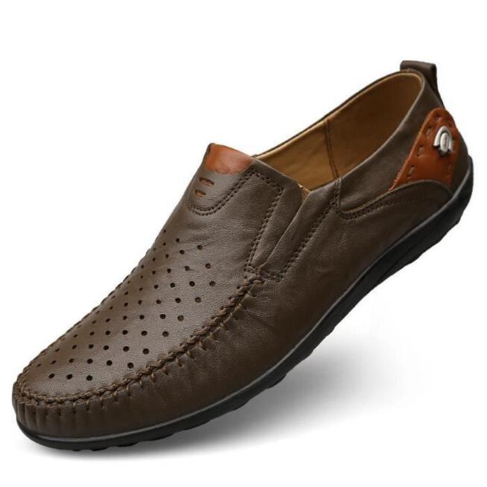 chaussures homme gratuites En Cuir Respirant Moccasin hommes Marque De Luxe chaussure Loafer Nouvelle Mode 2017 ete Grande Taille 46