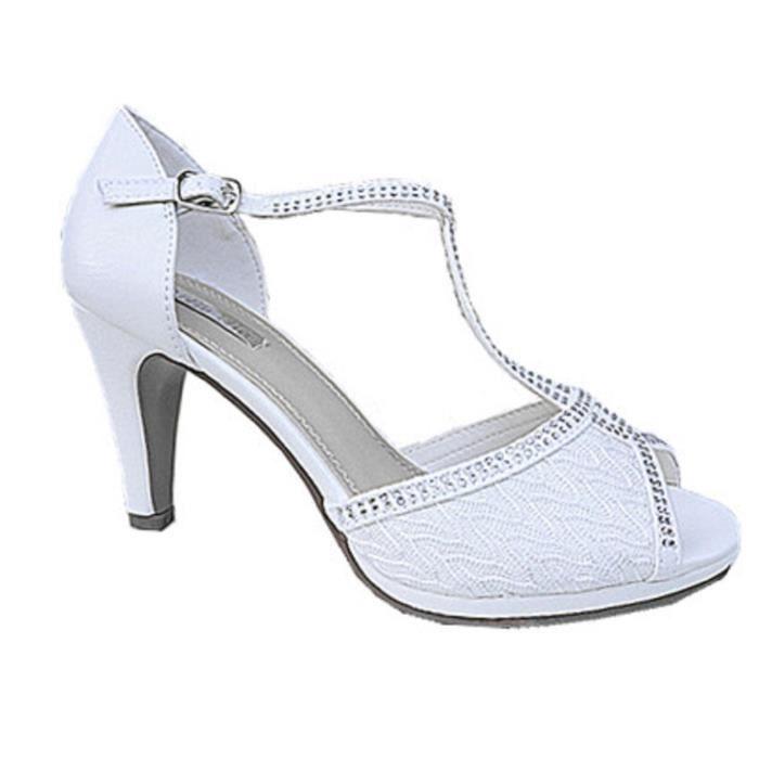 fab44086504643 Fashionfolie888 - Femme escarpins mariage talon aiguille strass sandale  Satin Bout Ouvert 8005 BLANC