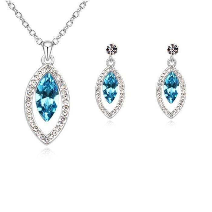Parure goutte ovale cristal SWAROVSKI ELEMENTS plaqué or blanc couleur Bleu turquoise