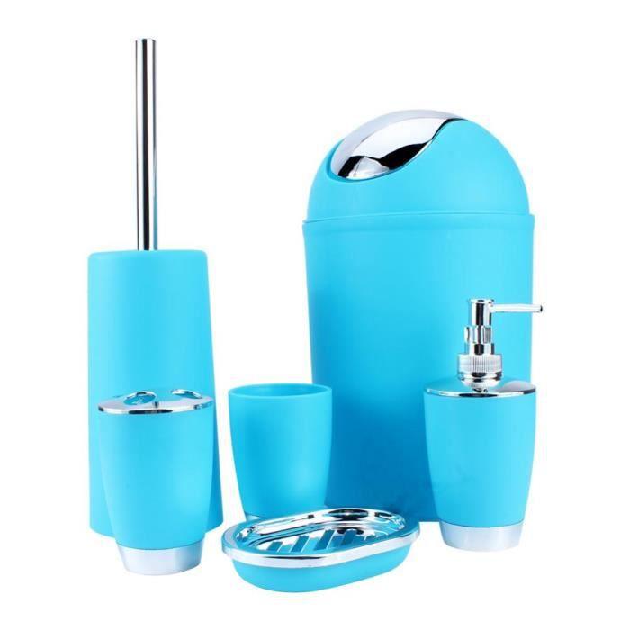 6pcs Kit Accessoires Salle de Bain Pour Toilette bleu----DQ FRANCE ...