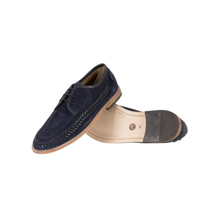 H by Hudson Homme Anfa Suede Shoes, Bleu