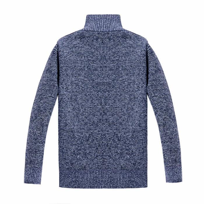 Manches Pardessus Hiver Slim Chaud Manteau Veste Hommes Outwear Longues Mode Bleu Zipper Huadedu YXqBHX