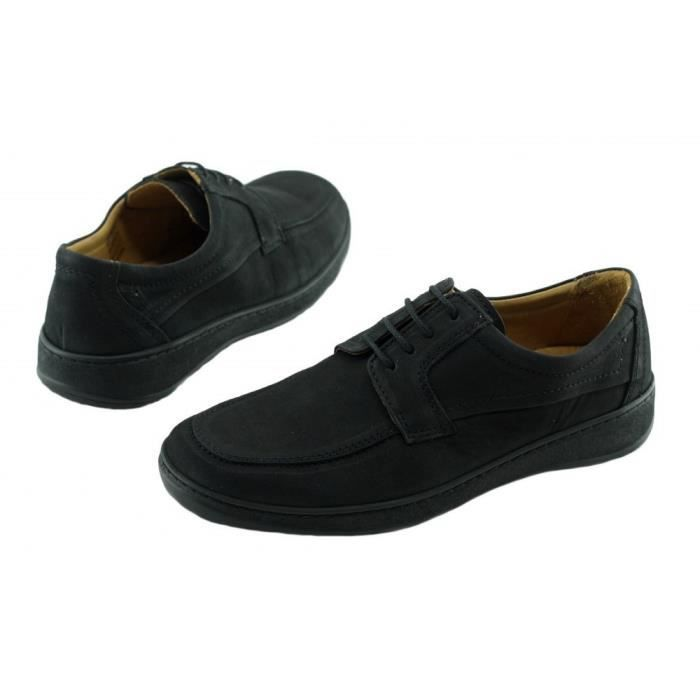 Foot – Derby à lacet grande largeur souple flexible et confortable chaussure largeur plus Homme pieds sensibles cuir nubuck noir