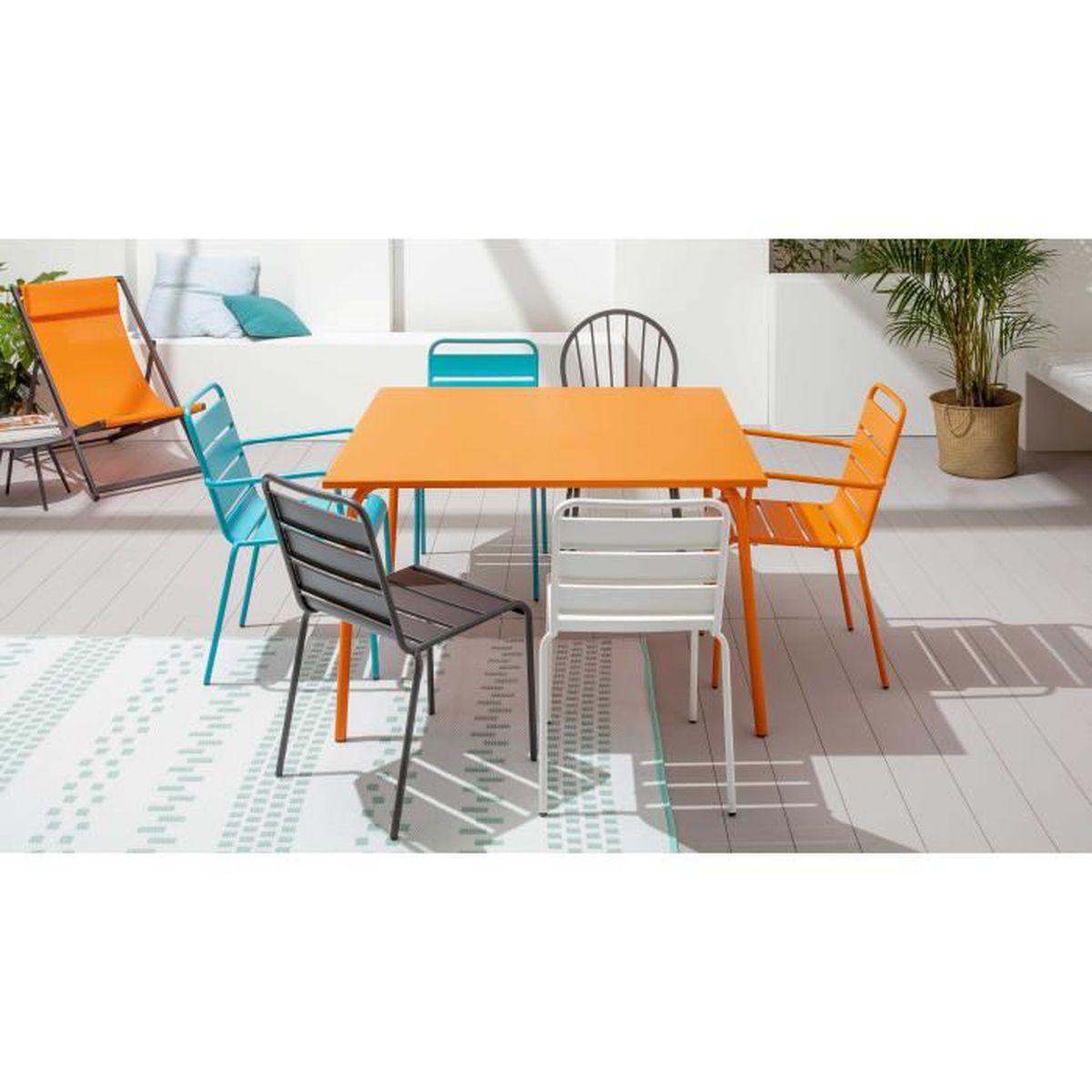 Table de jardin carrée en métal Orange - Achat / Vente table de ...