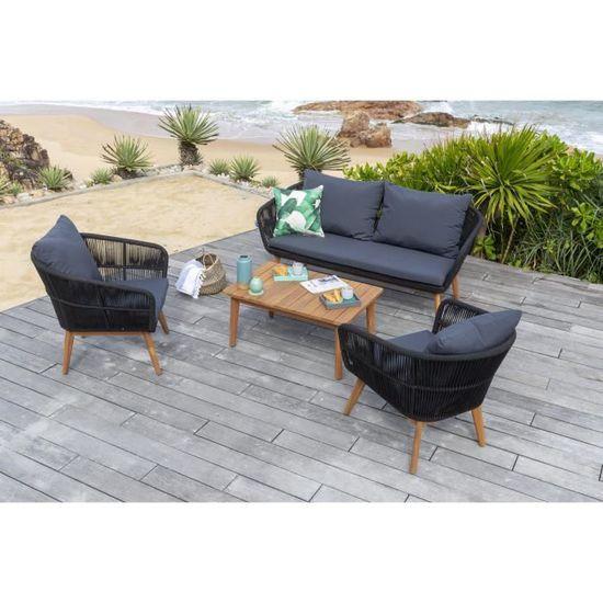 MALA Salon de jardin 4 places - en bois d\'acacia et tissage en corde - un  canapé et deux fauteuils avec une table basse