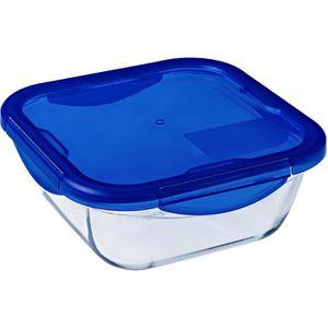 PYREX COOK&GO Plat de conservation carré 1,9l 21cm + Couvercle bleu