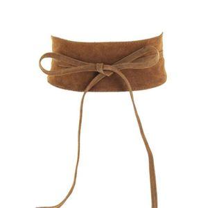 dbe6f8070ae8b Grande ceinture large à nouer camel en cuir velours - Achat / Vente ...
