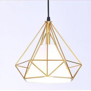 LUSTRE ET SUSPENSION Suspension Cage forme Diamant Lustre Abat-jour E27
