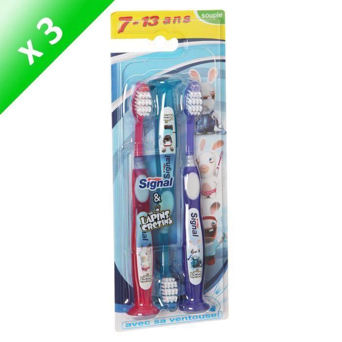 SIGNAL Brosses à dents Tripack - Souple - Enfants de 7 à 13 ans - Lot de 3 x 3