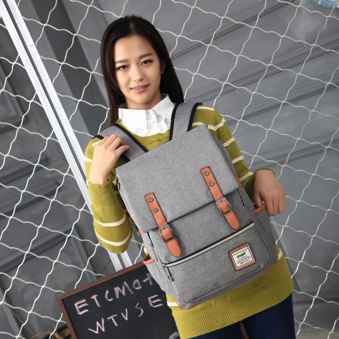 Femmes ou hommes Vintage toile sacs à dos école de haute qualitéGris