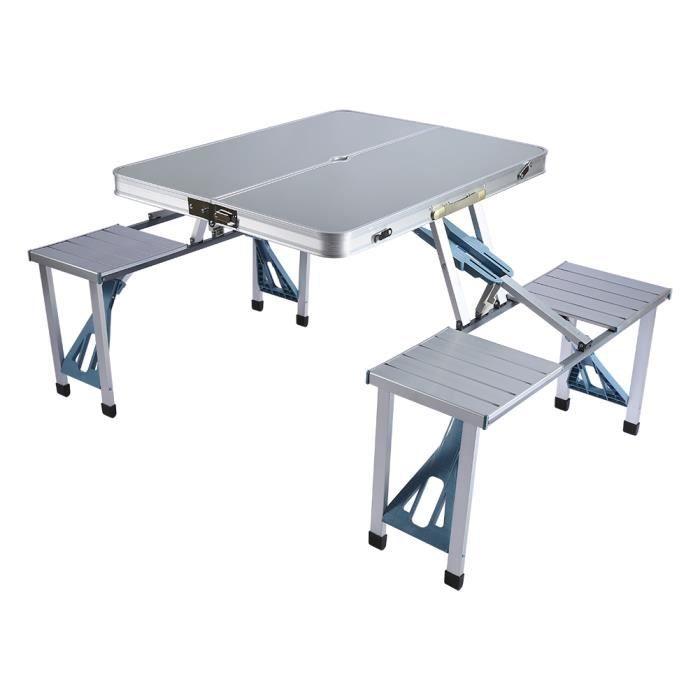 Aluminium Pliant Table Chaises Exterieure Portable Camping Pique Nique BBQ Tabourets