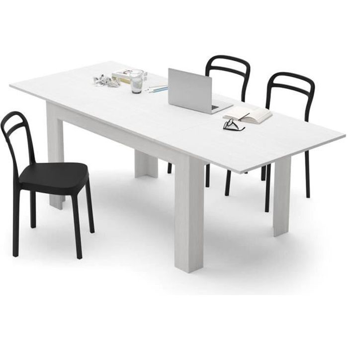 Mobilifiver Table Extensible Cuisine, Easy, Frêne Blanc, 140 X 90 X 77 Cm,  Mélaminé, Made In Italy