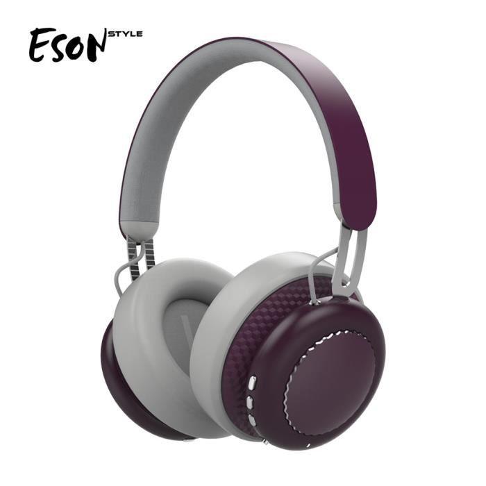 Casques Bluetooth Casque D'écoute Sans Fil À Réduction Active Du Bruit Vin Rouge