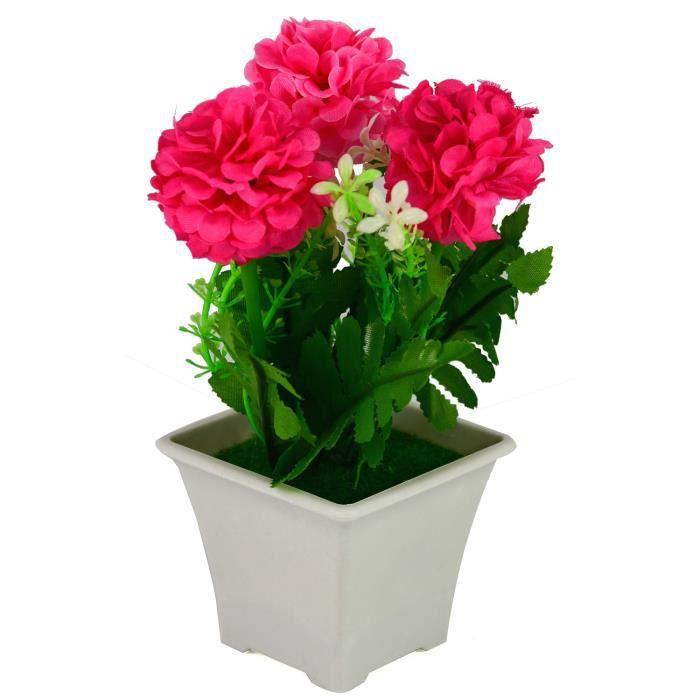 Pot De Fleur Artificielle 18x12 Cm Fuchsia Achat Vente Fleur