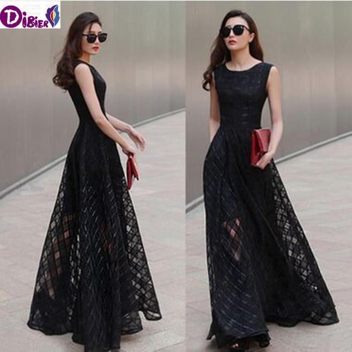 Robe longue dété Femmes robe longue Mode européenne Solide Couleur robe noire sans manches en organza Vintage Plaid