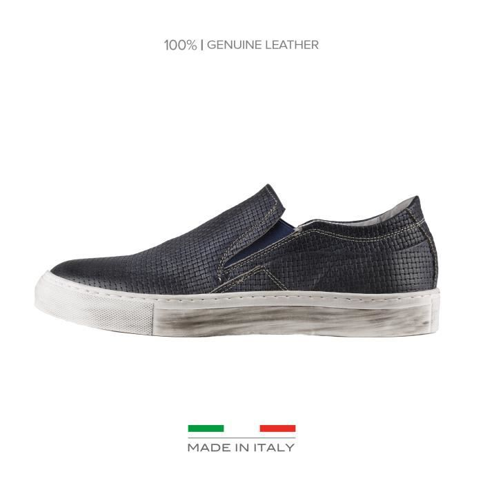 Made In Italia ᐧ ᐧ - Chaussures pour homme, baskets slip-on ᐧ ᐧ - 100% MADE IN ITALY ᐧ ᐧ - Empeigne: 100% VRAI CUI…