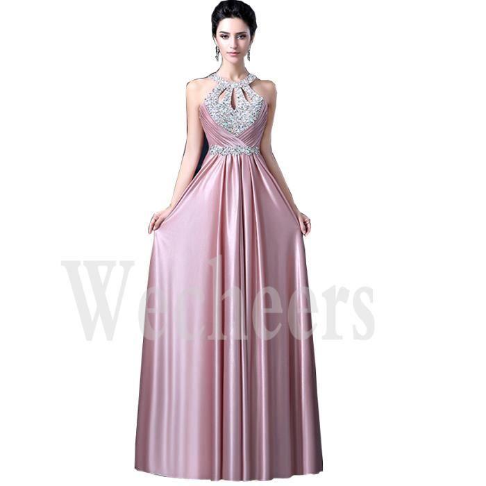 arrives high fashion super cute Robe De Soirée (Mariage) Longue Amincissant Sans Manche Cristal Plissé