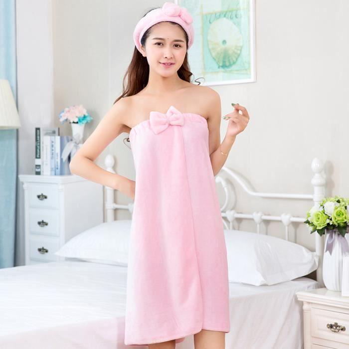 serviette de bain femme et fille peignoir robe de chambre drap de bain n ud papillon wrap sexy. Black Bedroom Furniture Sets. Home Design Ideas