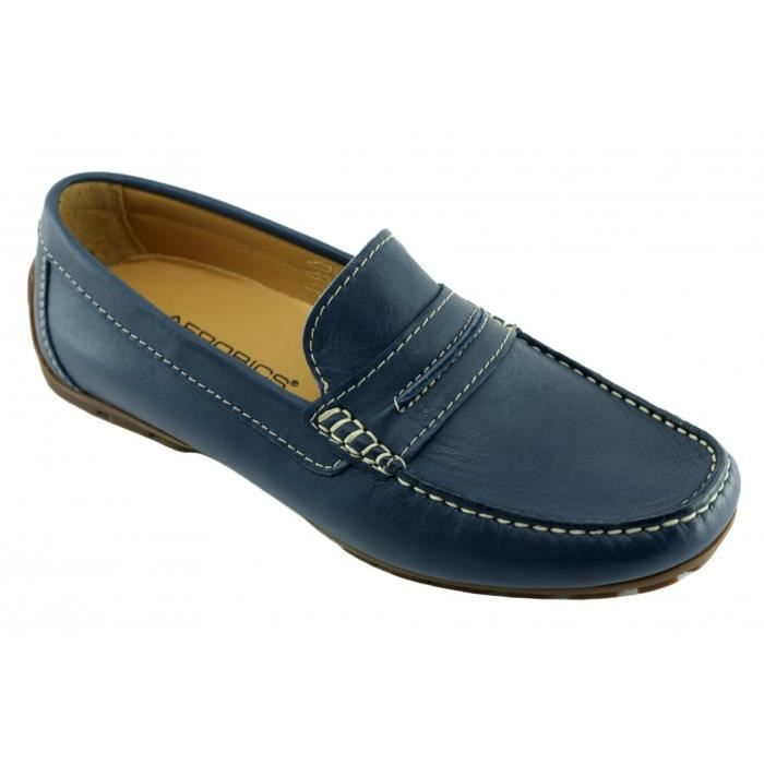 Mocc Cool II - Chaussures Homme mocassin cousu souple & confortable pointure 39 46 fabriqué Portugal cuir bleu marine