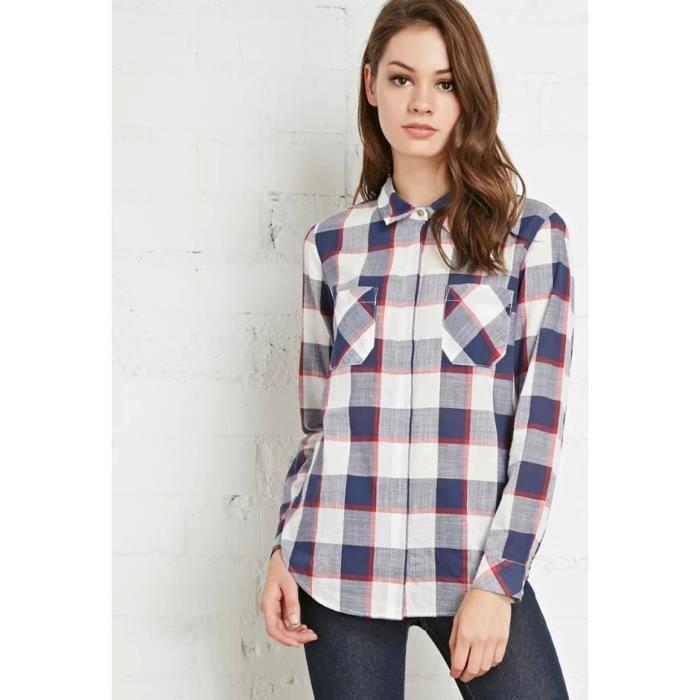 Chemise Femme à carreaux Cotton Pour Femme Marque Luxe Manche Longue ... 81b22db3ef2