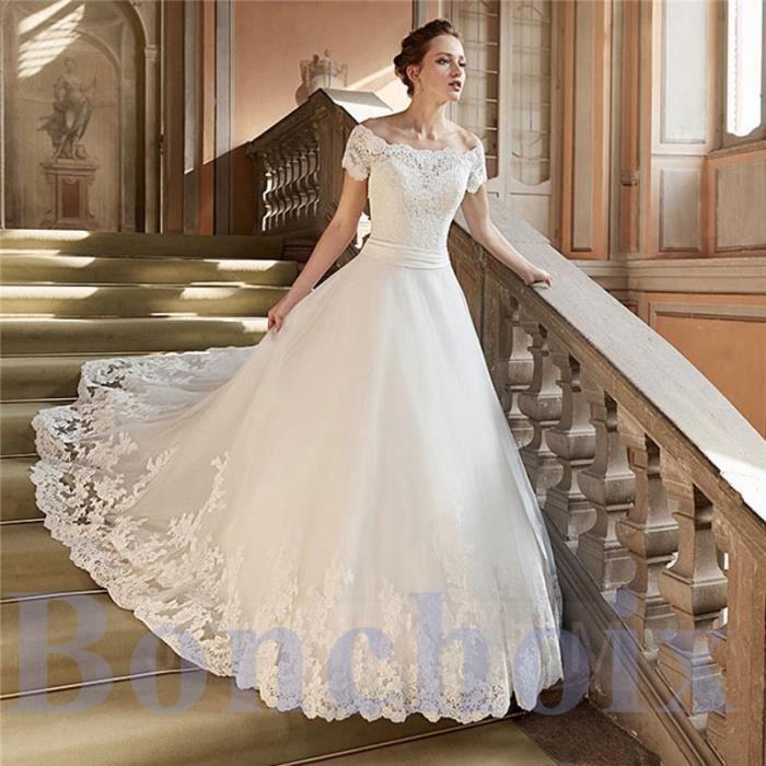 Robe De Mariée Mariage Femme Dentelle Manches Courtes Maxi Blanc Longue Elegant