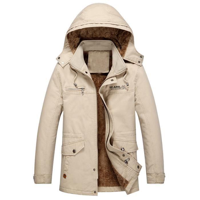 Velours Hommes Épaississement Beige Casual Hoodie D'hiver vent Coton Longueur Moyenne Coupe Manteau WHqSXBf7H6