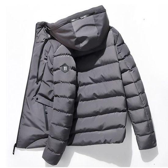 Hommes Capuche Slim Veste Longues D'hiver Vent Zippée Manteau Outwear À Chaud Manches Gris Avec 4qv4grX