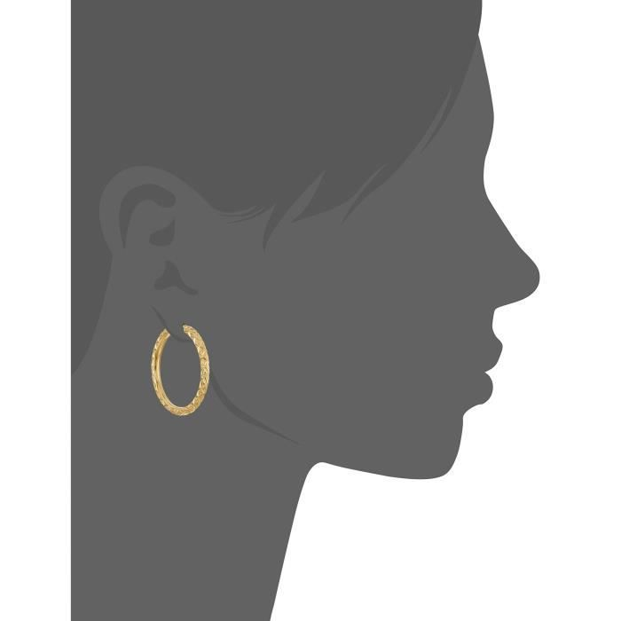 Craze 14k Yellow Gold Nano Diamond Resin Diamond Cut And Textured Hoop Earrings V6YF1