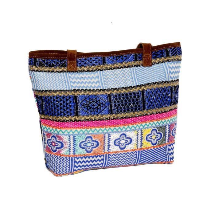 Femmes à la main ethnique Self Design Sac fourre-tout jacquard avec poignée en cuir OR6LU