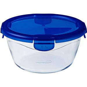 PYREX COOK&GO Plat de conservation rond 0,7l 15cm + Couvercle bleu