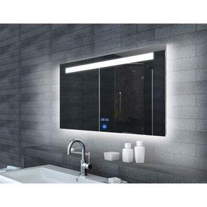 Miroir de salle de bains avec clairage led horloge et - Glace de salle de bain avec eclairage ...