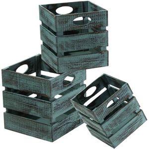 BOITE DE RANGEMENT Caisses carrées en bois empliables - lot de 3 Vert