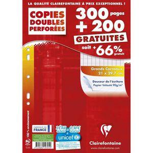FEUILLET MOBILE CLAIRE FONTAINE Copies Doubles Grands Carreaux 500