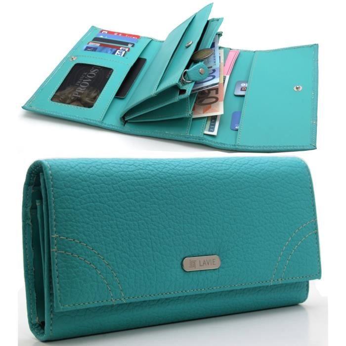 portefeuille porte monnaie porte cartes femme azure achat vente portefeuille 2009938008919. Black Bedroom Furniture Sets. Home Design Ideas