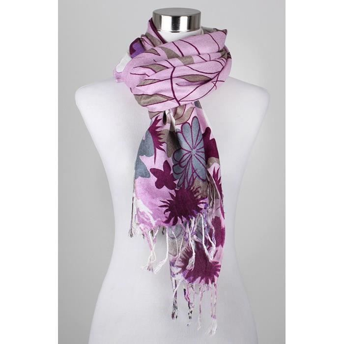 Foulard femme violet clair mauve fleuri viscose Violet - Achat ... d5196444a72