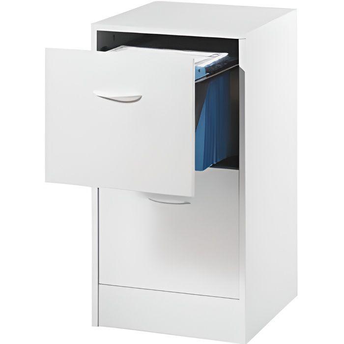 Classeur 2 tiroirs pour dossiers suspendus 41 4 cm blanc for Meuble classement tiroir
