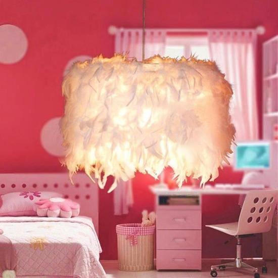 Lustre suspension en plumes Lumière 20CM E27 Blanc - Décoration de chambre  princesse mignonne