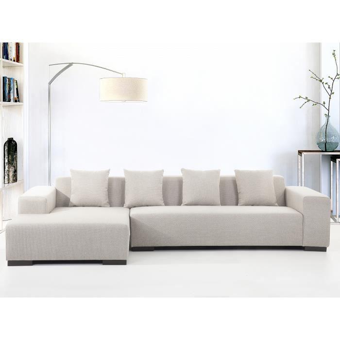 Canapé d angle canapé en tissu beige Lungo D Achat Vente