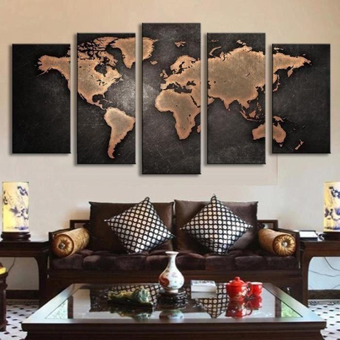 Carte Du Monde De Peintures Murales Décoratives Peintes Salon