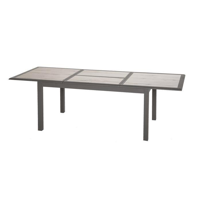 Table extensible rectangulaire Azua verre 6/10 places effet bois - Hespéride