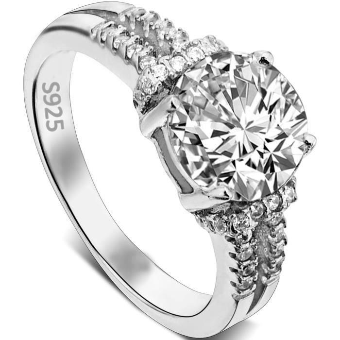 EVER FAITH®-Bague-Mariage-Luxueuse-Zircon .79ct Argent925 Transparent