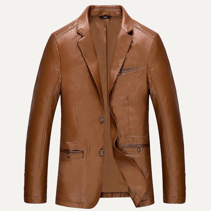 veste cuir homme marque slim pu cuir blazer de marron. Black Bedroom Furniture Sets. Home Design Ideas