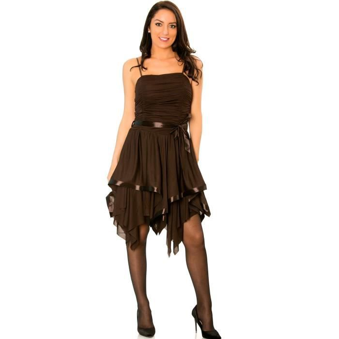 Miss Wear Line - Robe marron avec attache, bustier drapé et bas asymétrique