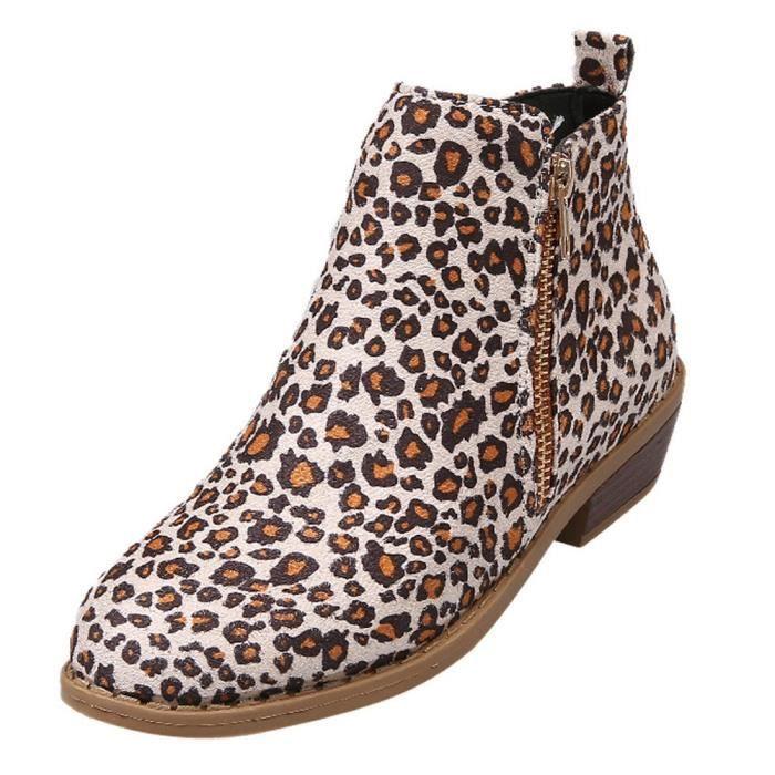 d7d877d2d6c Femmes bottillons de la Cour de Suede LEOPARD IMPRIME Martin Bottes  Chaussures cheville Zipper Bottes Kaki