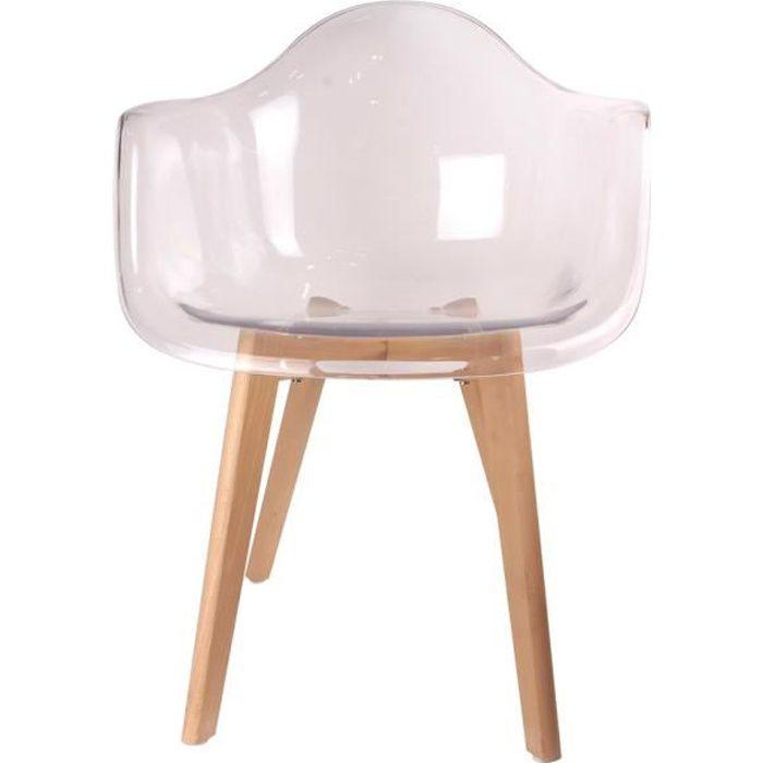 chaise fauteuil scandinave en polypropylne - Fauteuil Scandinave Transparent