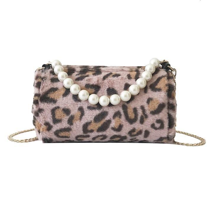 À Femmes Messenger Sacoche Peluche Sac Petit Leopard Bandoulière Mode En da8457 SwwqfU