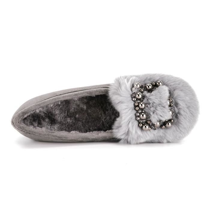 Warm Plush Rhinestone Ballet Flats Indoor Outdoor House Slippers Slip On Shoes NSDNB Taille-41